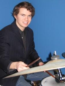 Drummer Mike Ferguson hitting the skins